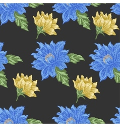 Seamless pattern with blue and yellow flowers on a vector