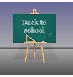Green school board with chalk on a tripod vector
