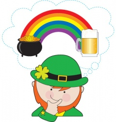 Leprechaun and rainbow vector