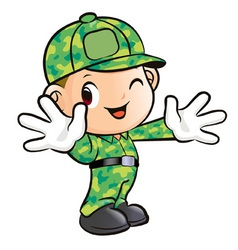 Welcoming a soldier character vector