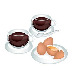 A cup of coffee with fresh eggs vector