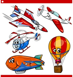 Funny cartoon aircraft vehicles set vector