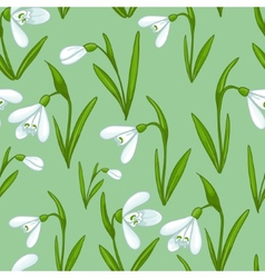 Floral seamless background with white snowdrops vector
