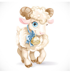 Little cute lamb isolated on a white background vector