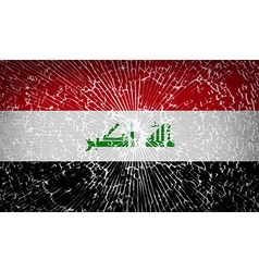 Flags iraq with broken glass texture vector