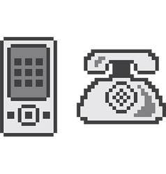 Pixelated technology icons vector