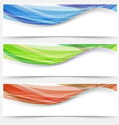 Bright wave lines red blue green headers vector