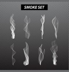 Realistic smoke design set black background vector
