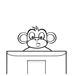Black and white monkey behind screen vector