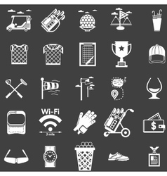 Collection of white icons for golf vector