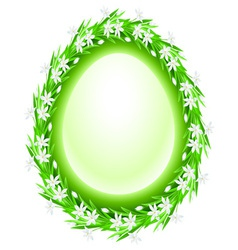 Spring flower frame egg vector