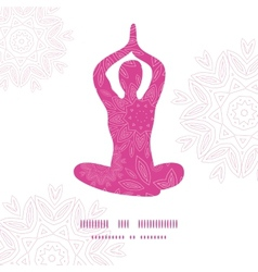 Woman in lotus yoga pose silhouette pink flowers vector