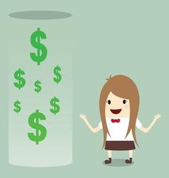 Businesswoman happy get money bonus from bank vector