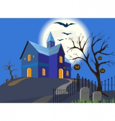 Halloween pumpkin and house eps vector
