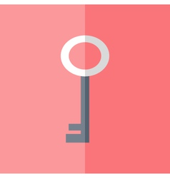 Flat white blue key icon over pink vector