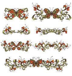 Set of bright floral design elements and page vector
