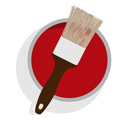 Paint can and brush vector
