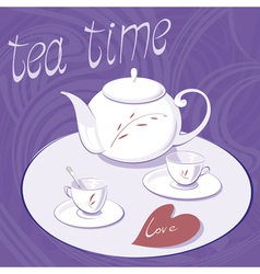 Teapot and two cups vector