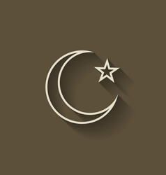 Crescent moon and star vector