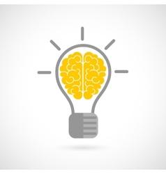 Human brain in lightbulb flat vector
