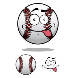 Cartoon baseball ball with a cheeky grin vector
