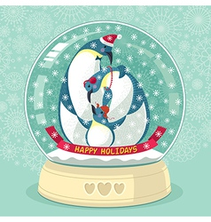 Snowing globe with penguin family inside vector