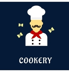 Cookery flat concept with chef in uniform vector