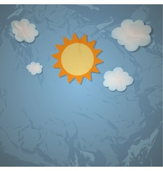 Sun and cloud retro grunge background vector