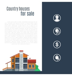 Orange country house in flat style vector