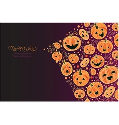 Halloween pumpkins corner decor background vector