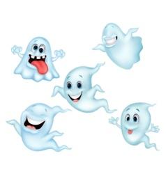 Cute ghost cartoon collection set vector