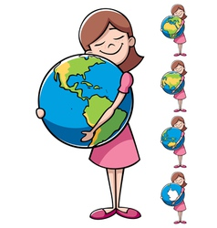 Child and earth vector