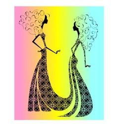 Silhouette of two beautiful girls vector