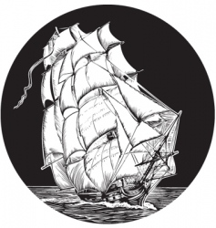 Sailing ship emblem vector