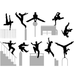 Parkour poses vector