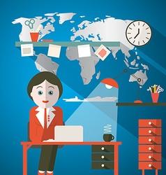 Secretary in office or presenter in studio with vector