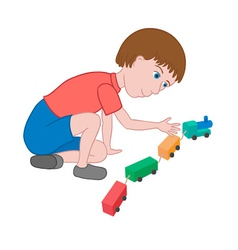 Boy playing with toy train vector