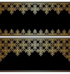 Black card with gold vintage ornament vector