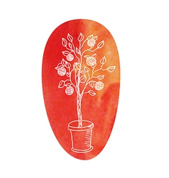 Tree on a water color background vector