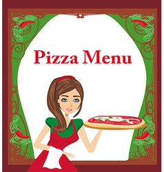 Smiling waitress serving pizza menu card vector