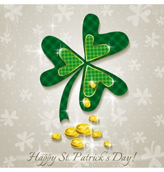 Card for st patricks day with clover and coins vector