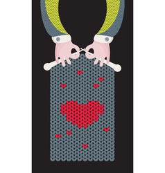 Knitted love vector