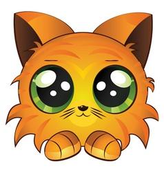 Cartoon red kitten vector