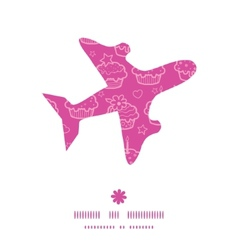 Colorful cupcake party airplane silhouette pattern vector