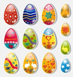 Set of paper easter eggs vector