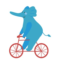 Blue elephant with bicycle vector