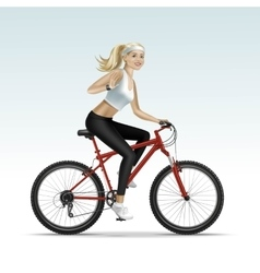 Blonde woman girl female riding a bicycle vector