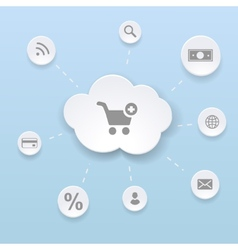 Online shopping concept with cloud money vector