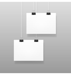 White blank paper wall poster template vector