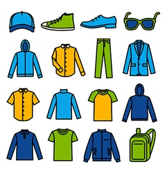 Mens clothing icons vector